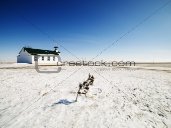Small white church.