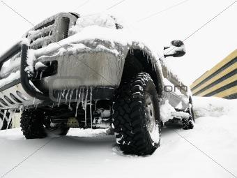 SUV in snow.