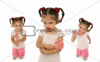 Toddler holding a lollypop with different expressions