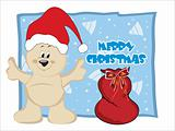 background with gift bag, santa claus