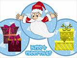 christmas background with santa, gift bag