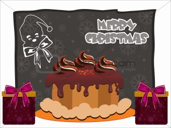 background with cake, gift
