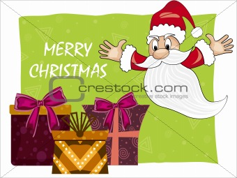 background with gifts, santa claus