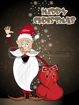 background with santa holding gift bag
