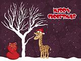 spiral background with dead tree, gift bag, giraffe