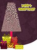 spiral background with xmas tree, gift box