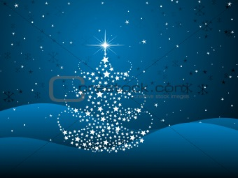 blue background with shiny xmas tree
