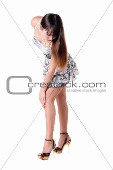 beautiful woman in sexual dress.