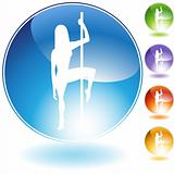 Female Pole Dancer Crystal Icon