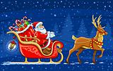 Christmas Santa Claus moving on the sledge with reindeer and gif