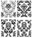 seamless damask patterns set