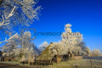 A classical winter landscape on a beautiful day in Holland