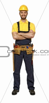 classic pose of young caucasian confident handyman