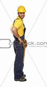 positive standing manual worker isolated on white background