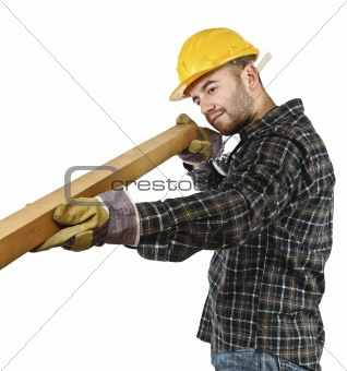 carpenter at work isolated on white