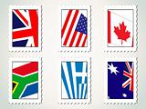 set of stamp with world flag