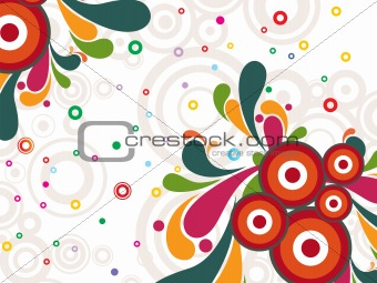 circle background with colorful artwork, illustration
