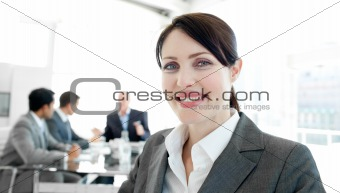 Attractive businesswoman in a wheelchair