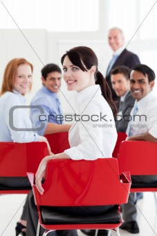 Attractive caucasian businesswoman at a conference