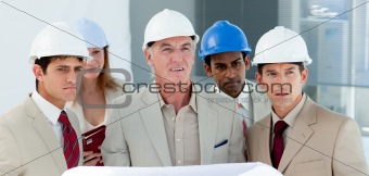 A group of architect in a building site