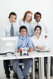 Portrait of a multi-ethnic business team with headset on