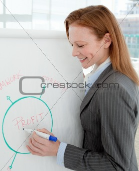 Young businesswoman reporting sales figures