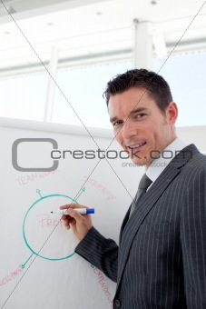 Smiling businessman reporting sales figures