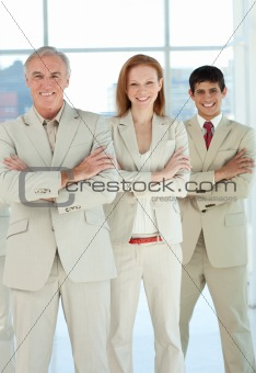 Business team with folded arms standing
