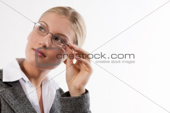 Portrait of an attractive young businesswoman with glasses
