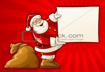 Santa Claus with sack and blank Christmas greeting paper
