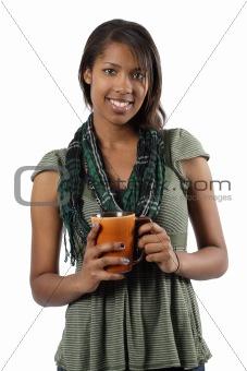 Beautiful female holding coffee