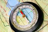 Navigational Compass on Topographical Map