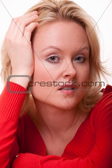 Attractive young caucasian blonde woman