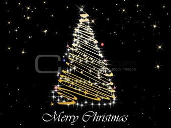 black twinkle star background with decor xmas tree
