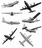 Collage of isolated aircraft