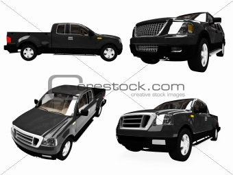 Collage of isolated pick up truck