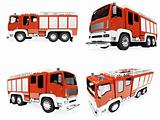 Collage of isolated firetruck