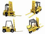 Collage of isolated fork truck