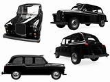 Collage of isolated black taxi