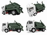 Collage of isolated dump truck