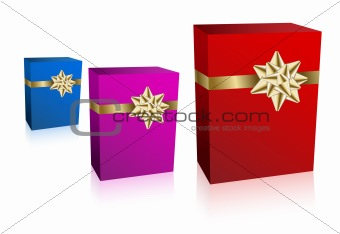 Three gift boxec with golden bow