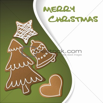 Christmas card - gingerbreads with white icing
