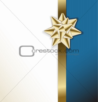 Card with golden bow on a ribbon