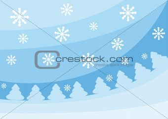 Blue christmas background with fir-trees and snowflakes