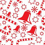 Seamless pattern with hand bells, candy canes, snowflakes and st