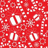 Seamless pattern with gifts, candy canes, snowflakes and stars