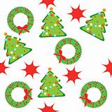 Seamless pattern with christmas trees, wreaths and stars