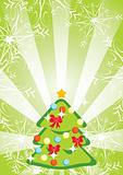 Green Christmas background with fir-tree, snowflakes and stripes