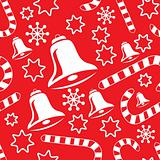 Seamless pattern with christmas bells, candy canes, snowflakes a