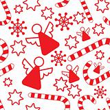 Seamless pattern with christmas angels, candy canes, snowflakes